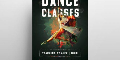 Dance Classes PSD Freebie Flyer Template