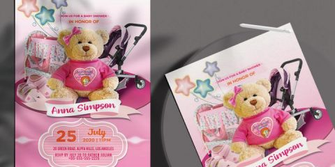 Free Baby Girl Shower Invitation Flyer Template in PSD