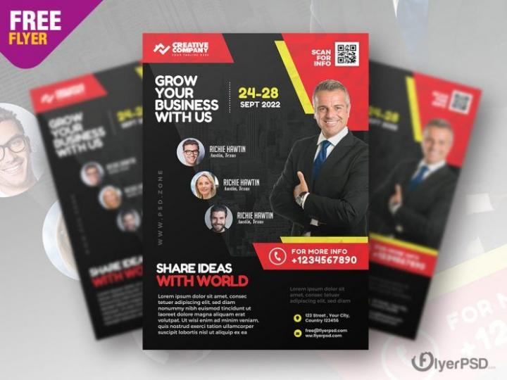Free Business Event Seminar Flyer Template in PSD