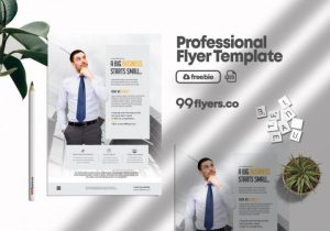 Free Clean Business Ad Flyer Template in PSD
