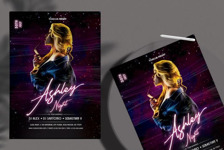 Free Club Dj Night Party Flyer Template in PSD