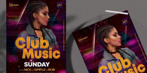 Free Club Music Flyer Template in PSD