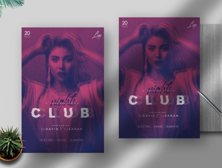 Free Club Nights Flyer Template in PSD