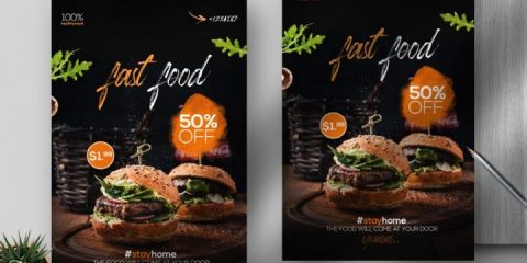 Free Fast Food Delivery Flyer Template in PSD