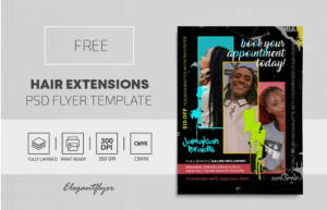 Free Hair Extensions Flyer Template in PSD