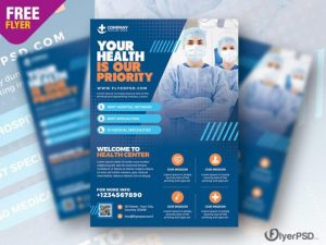 Free Health Care and Hospital Flyer Template PSD