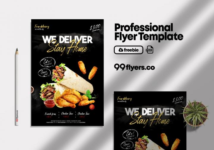 Free Home Delivery Food Flyer Template in PSD