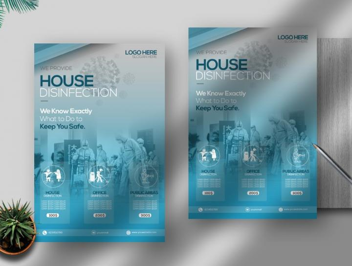 Free House Disinfection Flyer Template in PSD