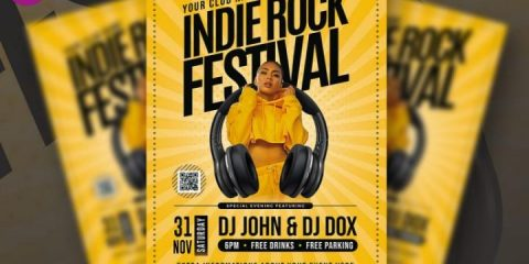 Free Indie Rock Music Flyer in PSD