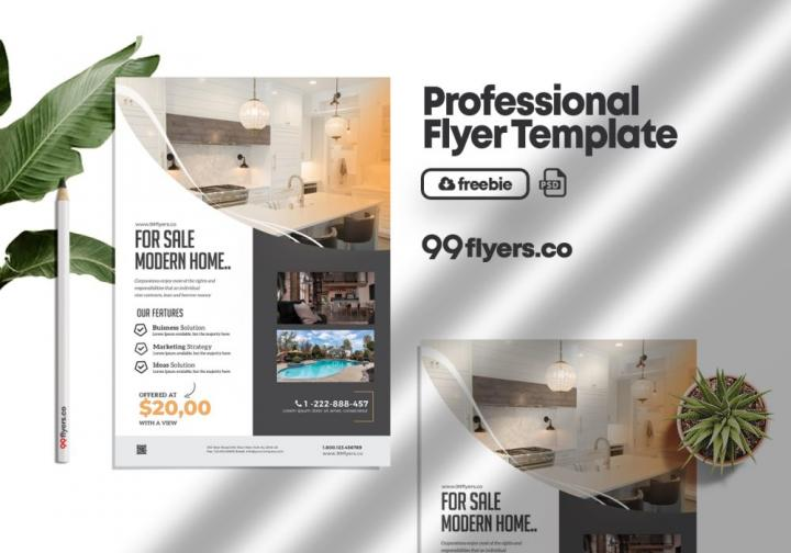 Free Modern Real Estate Flyer Template in PSD