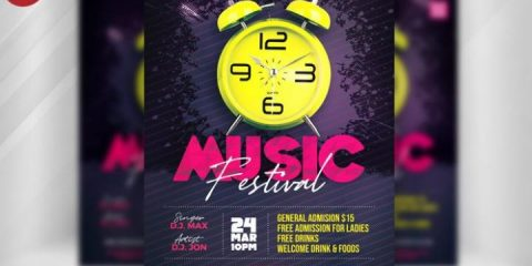 Free Music Festival Party Flyer in PSD