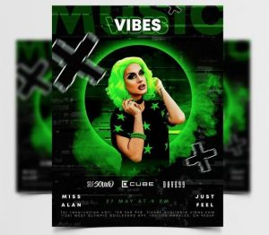 Free Music Vibes Flyer Template in PSD