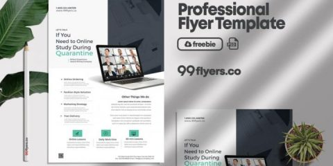 Free Online Home Learning Flyer Template in PSD