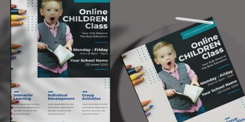 Free Online School Learning Flyer Template in PSD