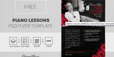 Free Piano Lessons Flyer Template in PSD