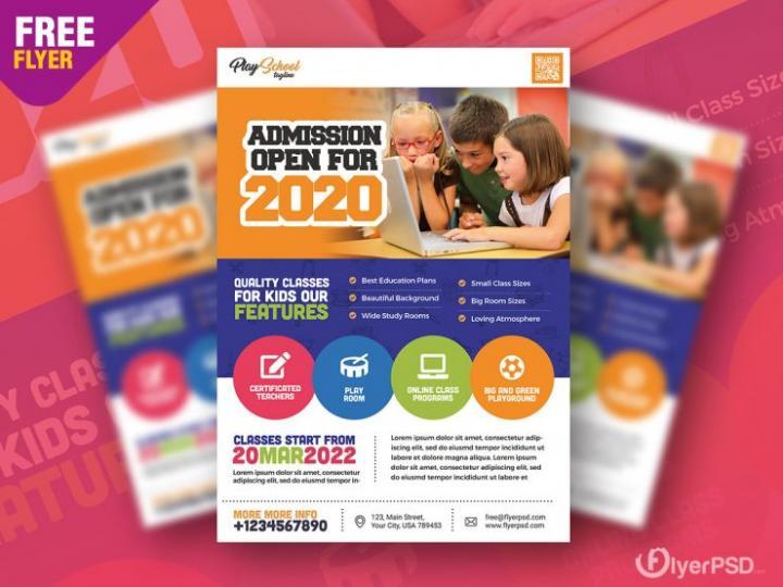 Free School Education Flyer PSD Template