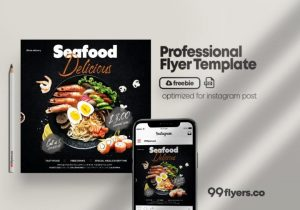 Free Seafood Online Ordering Food Flyer Template in PSD