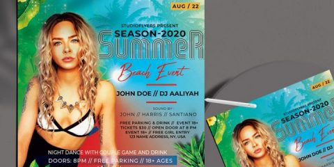 Free Summer Beach Event Flyer Template in PSD