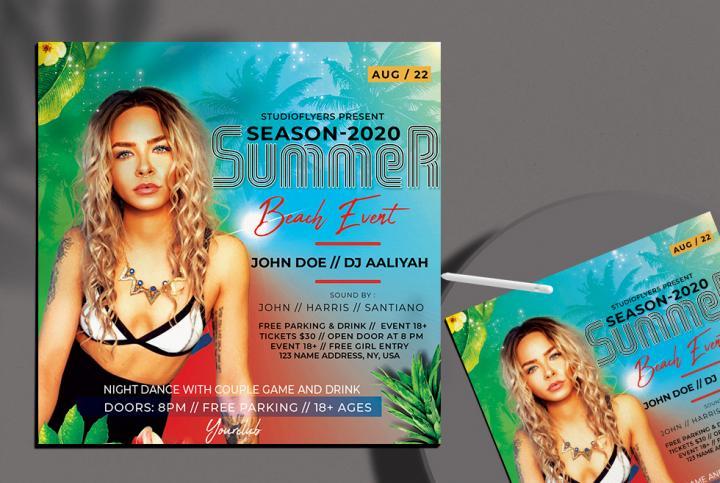 Free Summer Beach Event Flyer Template in PSD