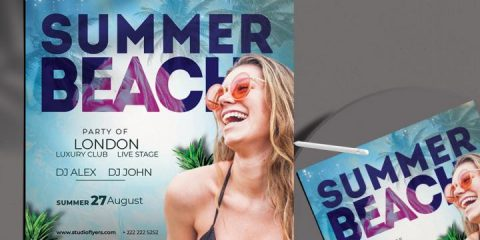 Free Summer Beach Time Flyer Template in PSD