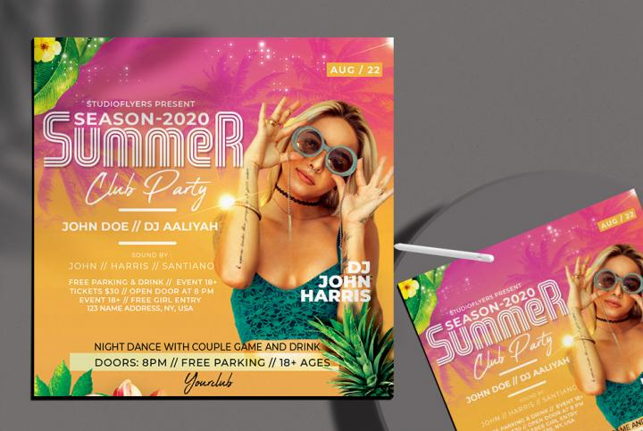 Free Summer Club Party Flyer Template in PSD