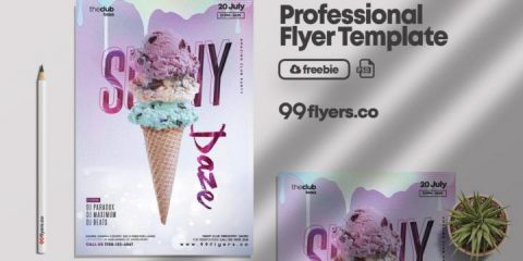 Free Summer Ice Cream Flyer Template in PSD