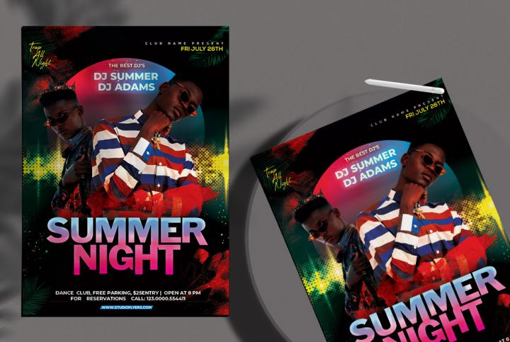 Free Summer Night Event Flyer Template in PSD
