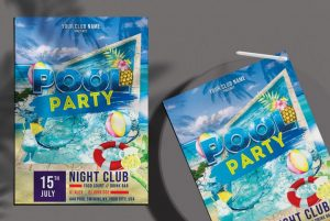 Free Summer Pool Party Flyer Template in PSD