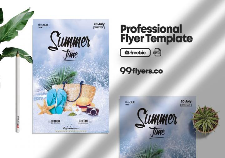 Free Summer Splash Party Template in PSD