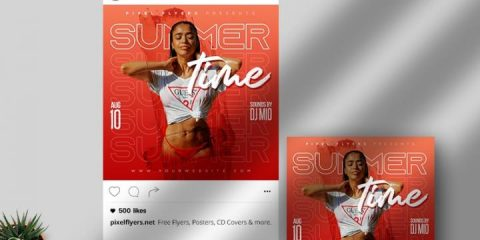 Free Summer Time Instagram Post Template in PSD