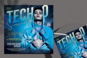 Free Techno Sound Flyer Template in PSD