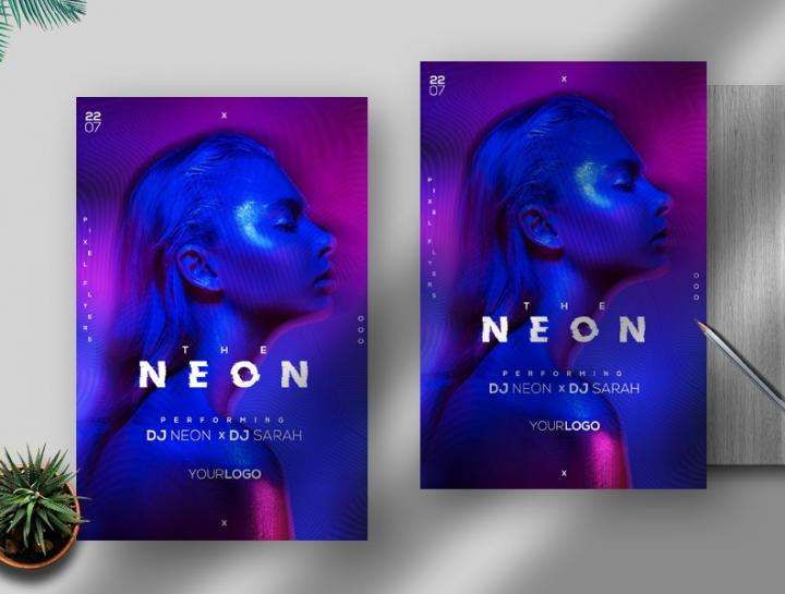 Free The Neon Vibe Flyer Template in PSD