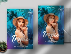 Free Tropic Party Flyer Template in PSD