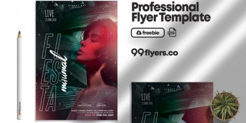 Free Tropical Concert Flyer Template in PSD
