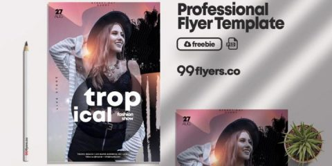 Free Tropical Summer Fashion Flyer Template in PSD