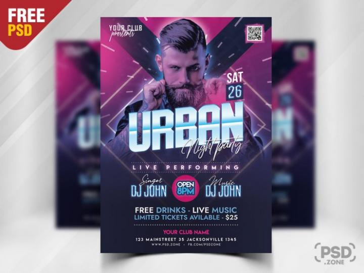 Free Urban Night Party Flyer in PSD