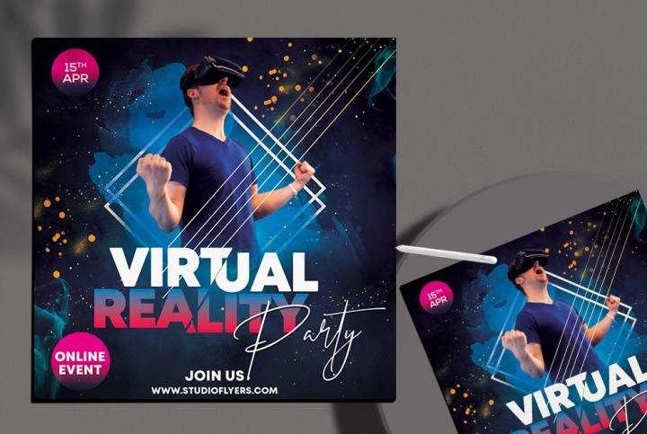 Free Virtual Party Flyer Template in PSD