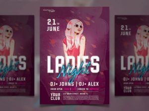 Girls Party Only Free PSD Flyer Template