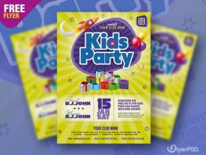 Kids Party Flyer PSD Template for Free