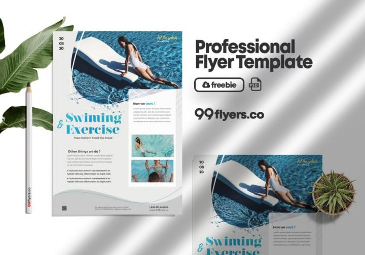 Swimming Lessons Flyer Free PSD Template
