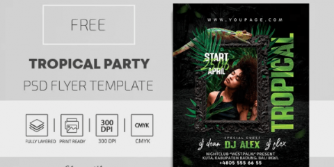 Tropical Party – PSD Flyer Template for Free