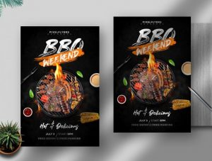 Free BBQ Weekend Flyer Template in PSD