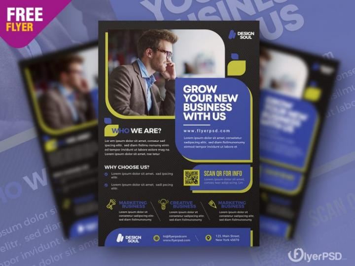Free Business & Corporate – Clean Flyer Template in PSD