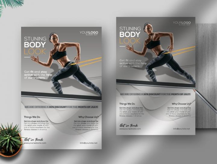 Free Creative Fitness Flyer Template in PSD