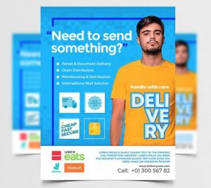 Free Delivery Services Flyer Template in PSD