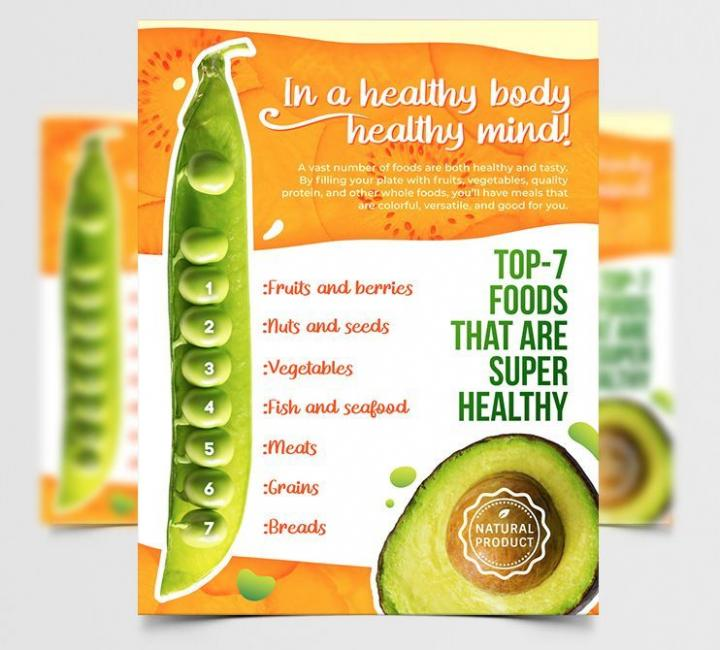 Free Diet & Healthy Food Flyer Template in PSD