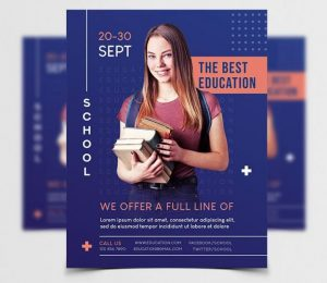 Free Education Students Flyer Template in PSD