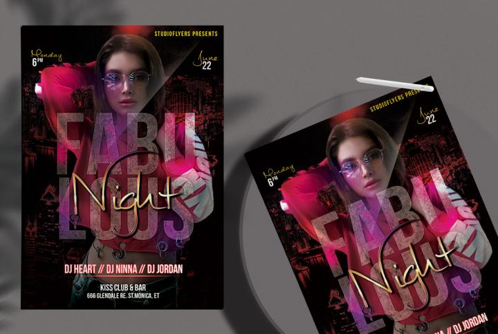 Free Fabulous Night Flyer Template in PSD