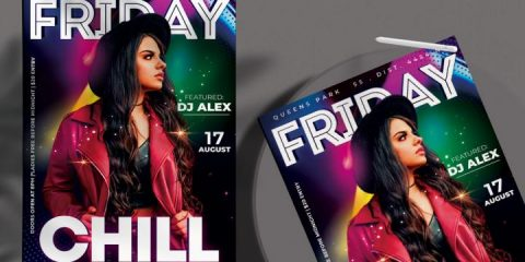 Free Friday Night Chill Flyer Template in PSD