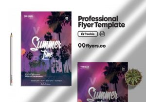 Free Hello Summer Party Flyer Template in PSD